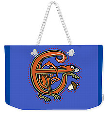 Weekender Tote Bag featuring the digital art Medieval Squirrel Letter E by Donna Huntriss