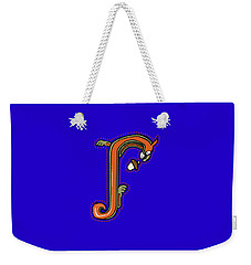 Weekender Tote Bag featuring the digital art Medieval Squirrel Letter J by Donna Huntriss