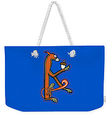 Weekender Tote Bag featuring the digital art Medieval Squirrel Letter K by Donna Huntriss