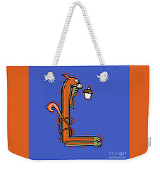 Weekender Tote Bag featuring the digital art Medieval Squirrel Letter L by Donna Huntriss