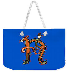 Weekender Tote Bag featuring the digital art Medieval Squirrel Letter N by Donna Huntriss