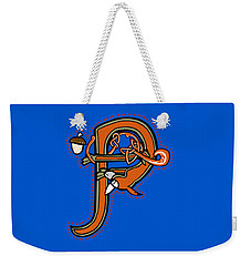 Weekender Tote Bag featuring the digital art Medieval Squirrel Letter P by Donna Huntriss