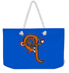 Weekender Tote Bag featuring the digital art Medieval Squirrel Letter Q by Donna Huntriss