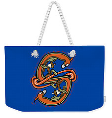 Weekender Tote Bag featuring the digital art Medieval Squirrel Letter S by Donna Huntriss