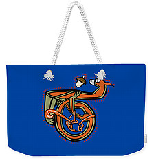 Weekender Tote Bag featuring the digital art Medieval Squirrel Letter T by Donna Huntriss