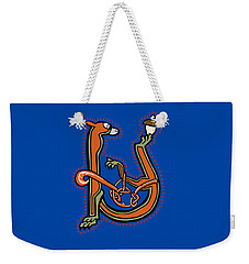 Weekender Tote Bag featuring the digital art Medieval Squirrel Letter U by Donna Huntriss