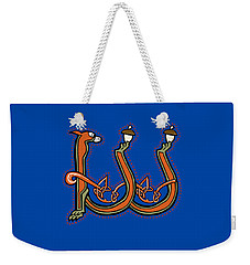 Weekender Tote Bag featuring the digital art Medieval Squirrel Letter W by Donna Huntriss
