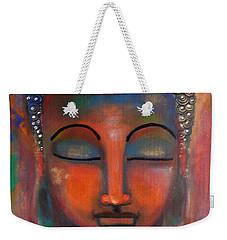 Meditating Buddha With A Blue Lotus Weekender Tote Bag by Prerna Poojara