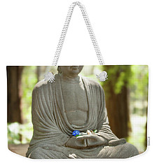Weekender Tote Bag featuring the photograph Meditation Buddha With Offerings by Carol Lynn Coronios