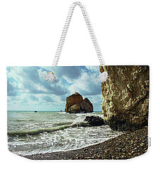 Mediterranean Sea, Pebbles, Large Stones, Sea Foam - The Legendary Birthplace Of Aphrodite Weekender Tote Bag