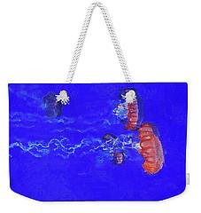 Weekender Tote Bag featuring the digital art Medusas Jellyfishes by PixBreak Art