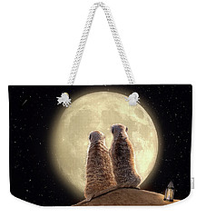 Weekender Tote Bag featuring the digital art Meerkat Moon by Nicole Wilde