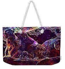 Weekender Tote Bag featuring the digital art Meerkat Zoo Lazy Nature Animal  by PixBreak Art