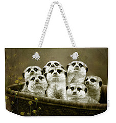 Weekender Tote Bag featuring the digital art Meerkats by Thanh Thuy Nguyen