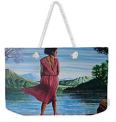 Weekender Tote Bag featuring the painting Meet Me At The River by Anthony Mwangi
