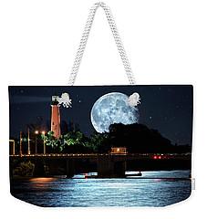 Mega Super Moon Rising Over Jupiter Lighthouse Weekender Tote Bag