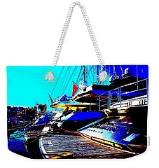 Weekender Tote Bag featuring the photograph Mega Yachts by Rogerio Mariani