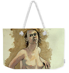 Weekender Tote Bag featuring the painting Megan by Ray Agius