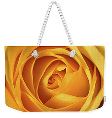 Weekender Tote Bag featuring the photograph Mellow Yellow Rose Square by Terry DeLuco