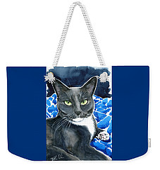 Melo - Blue Tuxedo Cat Painting Weekender Tote Bag