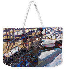 Melt Water And Ice At The Forest Edge Weekender Tote Bag