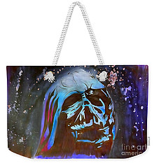 Weekender Tote Bag featuring the drawing Melted Helmet Watercolor Edition by Justin Moore