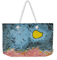 Weekender Tote Bag featuring the painting Melting Moon Over Drifting Sand Dunes by Ben Gertsberg
