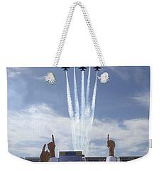 Members Of The U.s. Naval Academy Cheer Weekender Tote Bag by Stocktrek Images