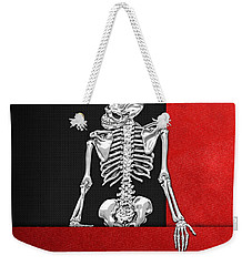 Memento Mori - Skeleton On Red And Black  Weekender Tote Bag