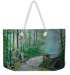Weekender Tote Bag featuring the painting Memory Bridge by Leslie Allen