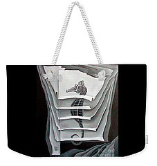 Weekender Tote Bag featuring the painting Memory Layers by Fei A