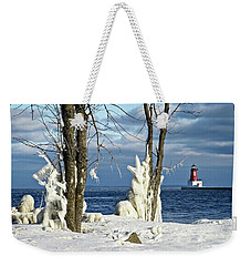 Menominee Lighthouse Ice Sculptures Weekender Tote Bag