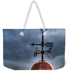 Menorca Copper Lighthouse Dome With Lightning Rod Under A Bluish And Stormy Sky And Lightning Effect Weekender Tote Bag by Pedro Cardona