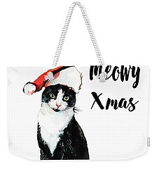 Weekender Tote Bag featuring the painting Meowy Xmas by Colleen Taylor