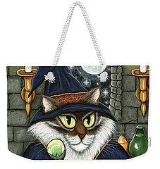 Weekender Tote Bag featuring the painting Merlin The Magician Cat by Carrie Hawks