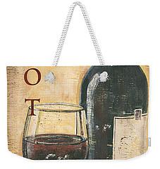 Merlot Wine And Grapes Weekender Tote Bag by Debbie DeWitt