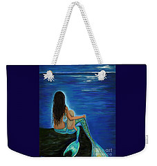 Weekender Tote Bag featuring the painting Mermaid And Her Daughter by Leslie Allen