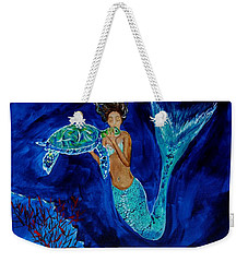 Mermaid And The Sea Turtle Weekender Tote Bag by Leslie Allen