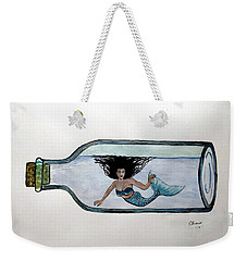 Weekender Tote Bag featuring the painting Mermaid In A Bottle by Edwin Alverio