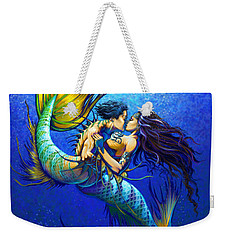 Weekender Tote Bag featuring the painting Mermaid Kiss by Stanley Morrison