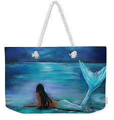 Mermaid Moon And Stars Weekender Tote Bag by Leslie Allen