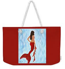 Weekender Tote Bag featuring the painting Mermaid Ruby by Leslie Allen