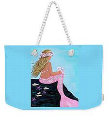 Weekender Tote Bag featuring the painting Mermaid Sweetie by Leslie Allen