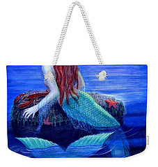 Weekender Tote Bag featuring the painting Mermaid's Dinner by Sue Halstenberg
