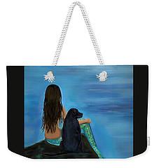 Weekender Tote Bag featuring the painting Mermaids Loyal Bud by Leslie Allen