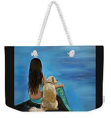 Weekender Tote Bag featuring the painting Mermaids Loyal Buddy by Leslie Allen