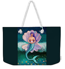 Weekender Tote Bag featuring the painting Mermaid's Pearl by Sue Halstenberg