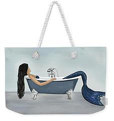 Weekender Tote Bag featuring the painting Mermaids Relaxing Retreat by Leslie Allen