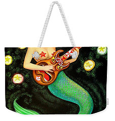 Weekender Tote Bag featuring the painting Mermaids Rock Tiki Guitar by Sue Halstenberg