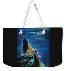 Weekender Tote Bag featuring the painting Mermaids Sweet Little Ones by Leslie Allen
